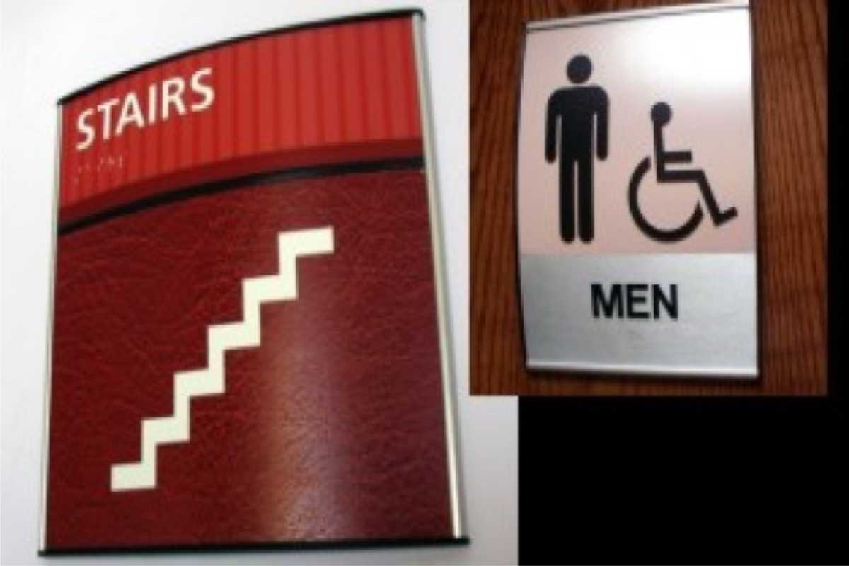 ada compliant signs stairs and restroom signs