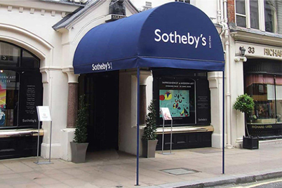 fabric entrance canopy at Sotheby's in NYC