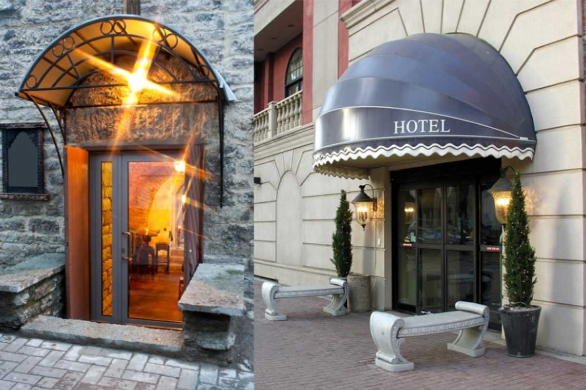 Split screen with metal entrance canopy over door and rounded fabric entrance canopy over hotel doors