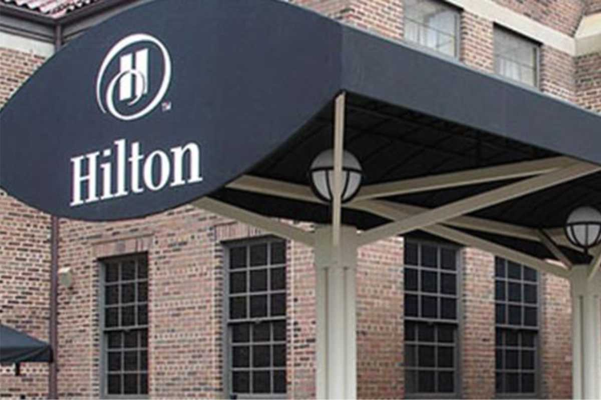 the Hilton hotel entrance canopy