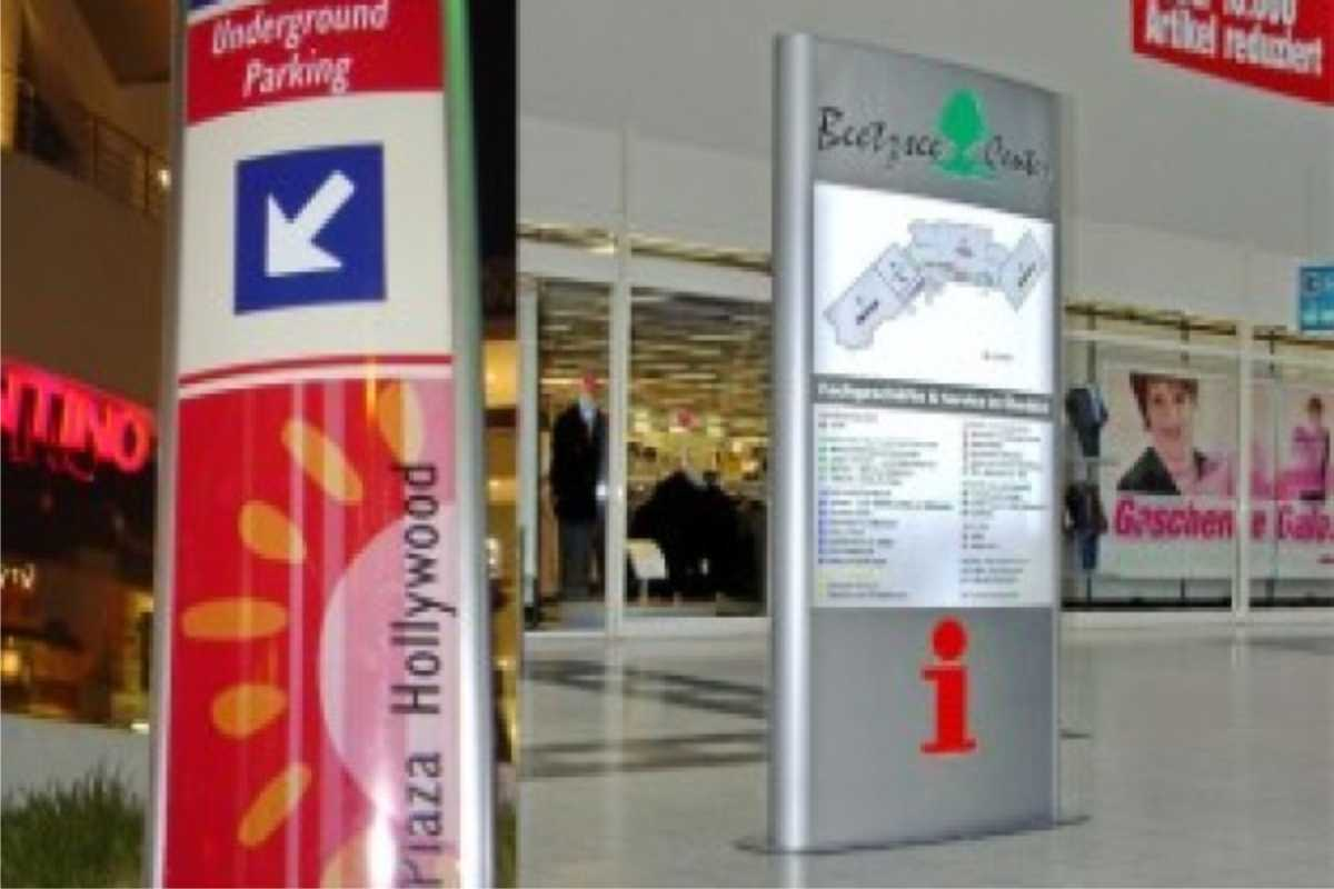 free-standing directory signs in mall