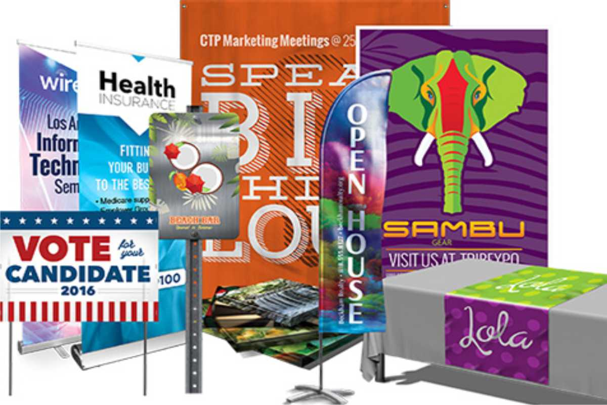 multiple sign types, examples of large format digital printing