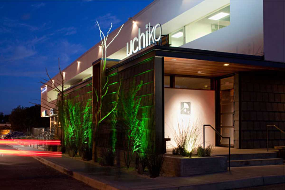 Uchiko Restauant exterior with Lights/ SIgn