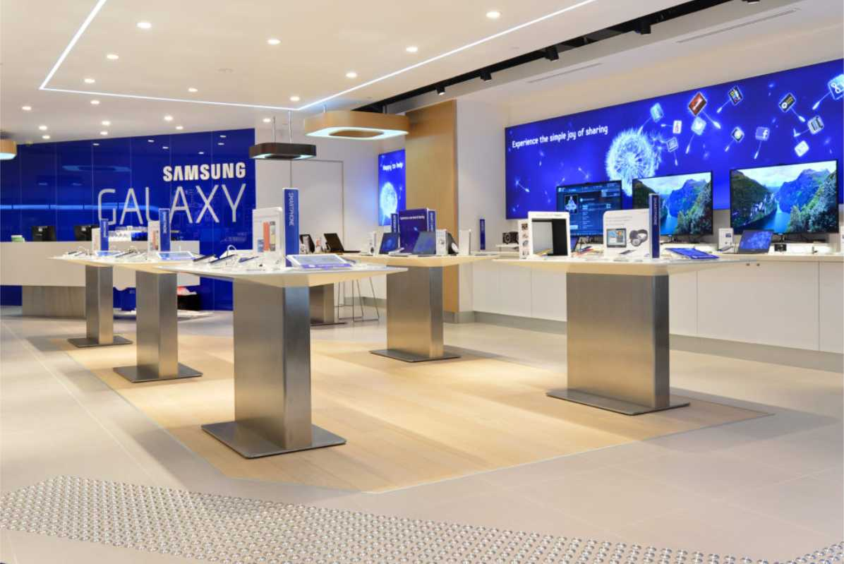 Interior of Samsung store with wall signs