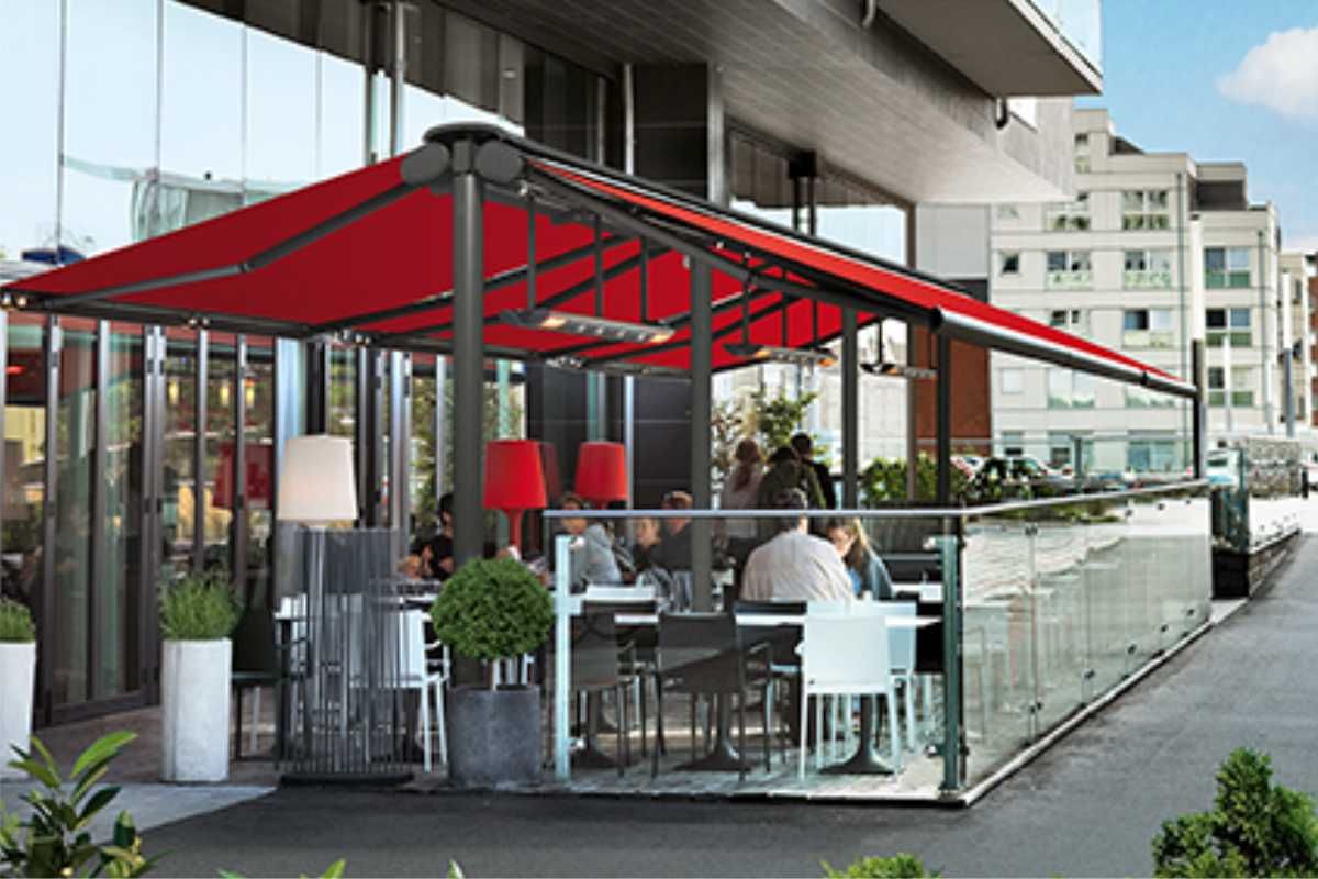 A commercial retractable awning over outside dining area