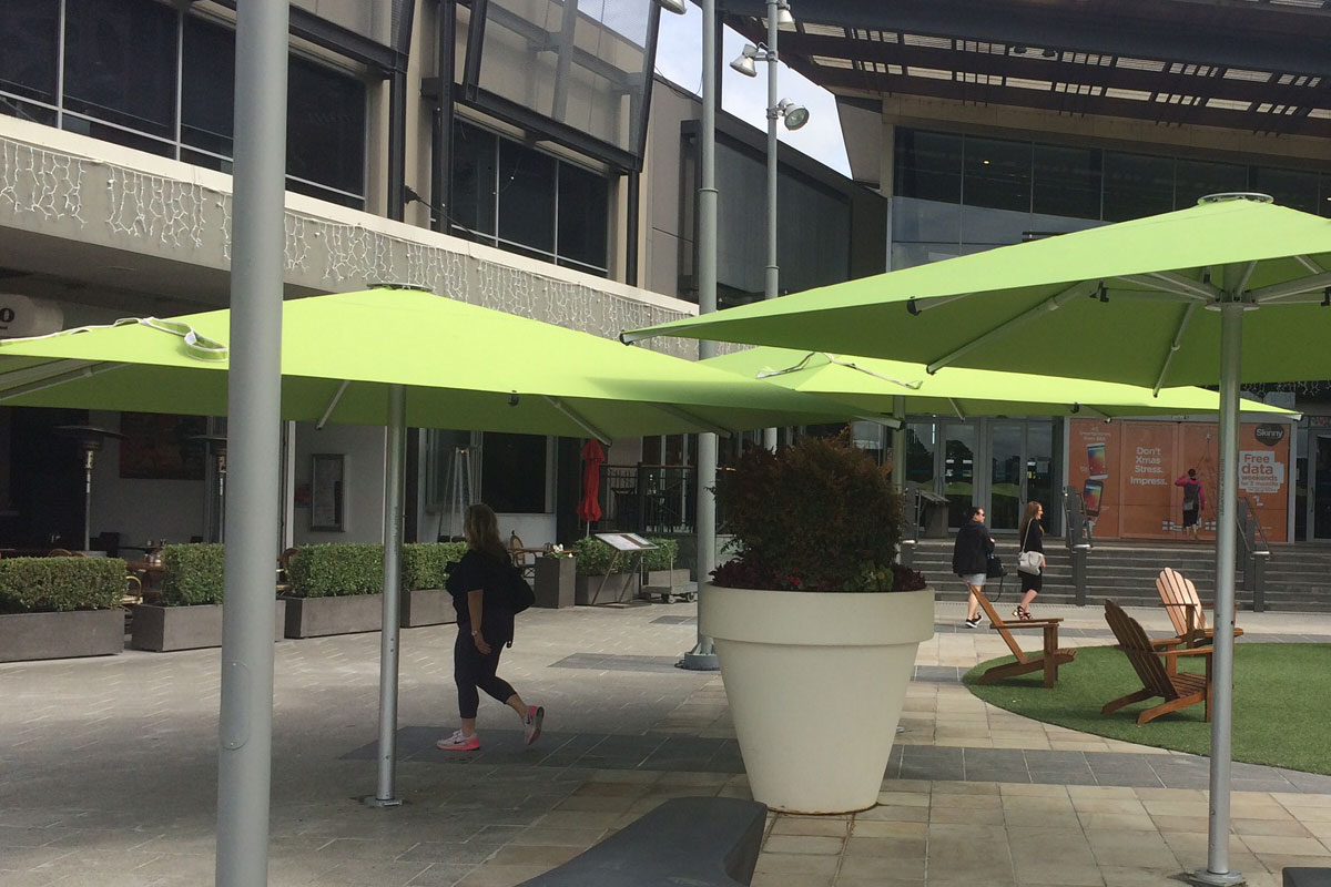 Commercial restaurant umbrellas outside area