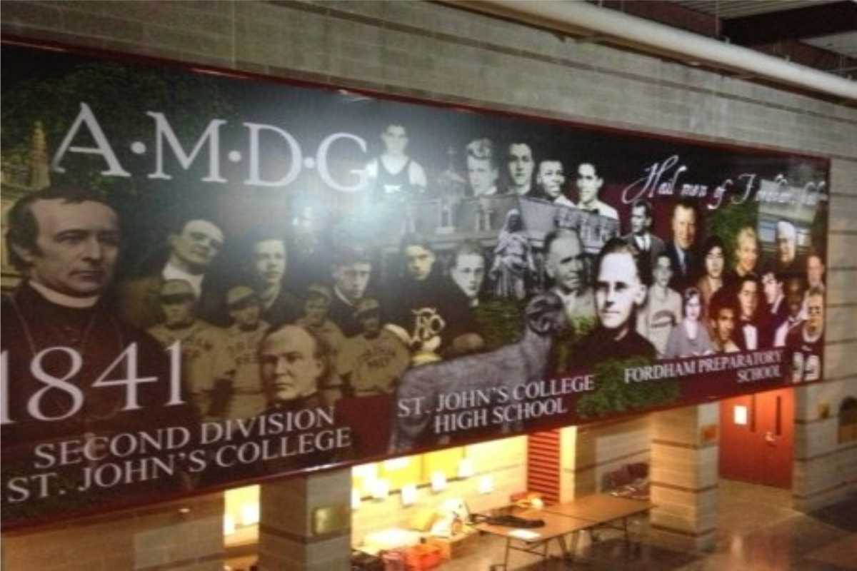 A large Wall sign with AMDG and 1841 for St John's College High School