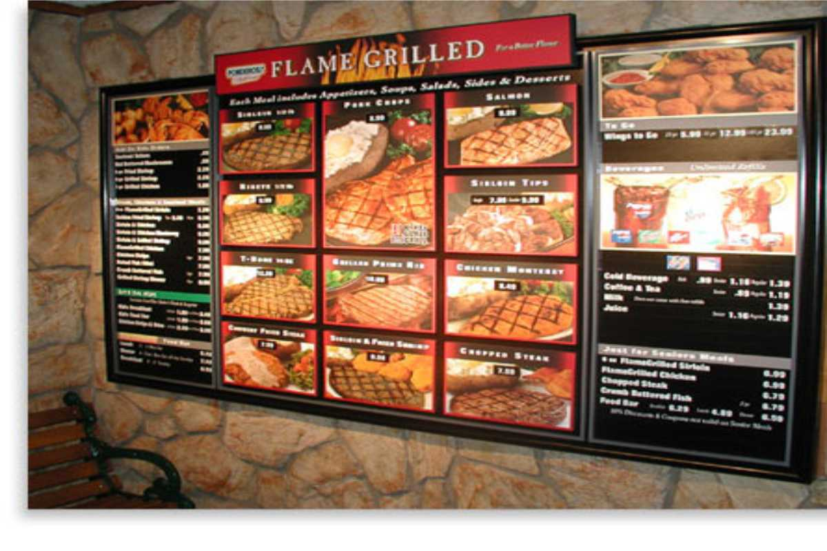 A restaurant menu sign