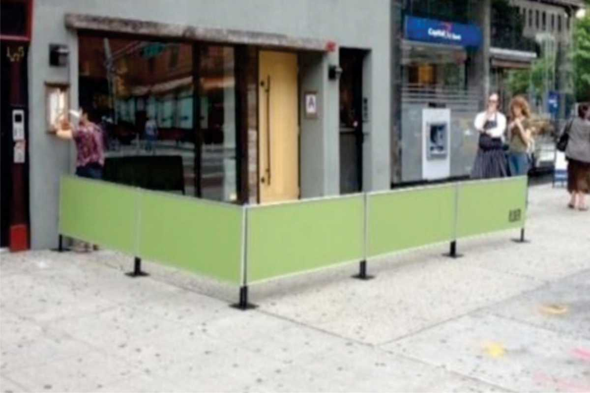 sidewalk barriers outside store