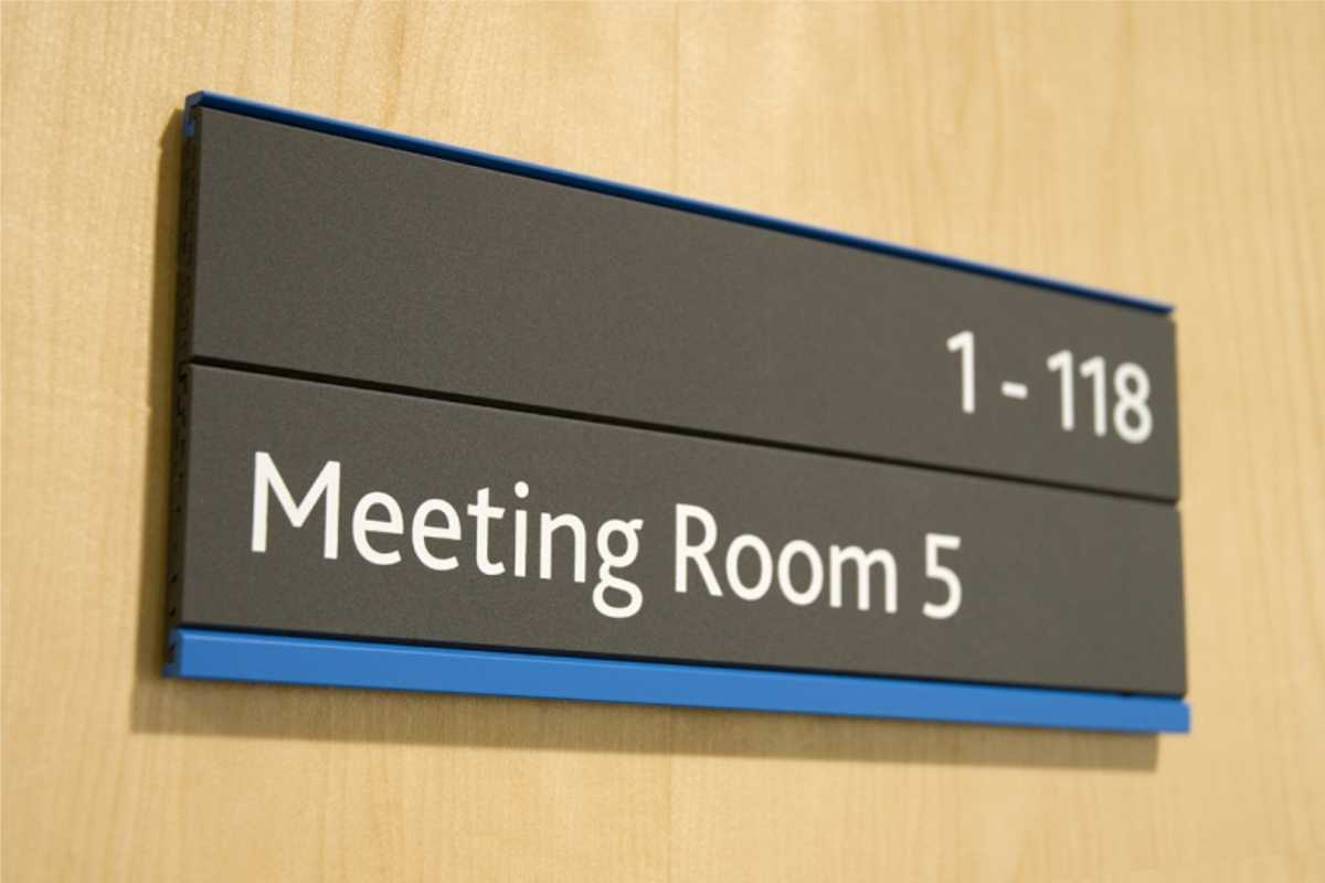 Sign for Meeting Room 5 inside office