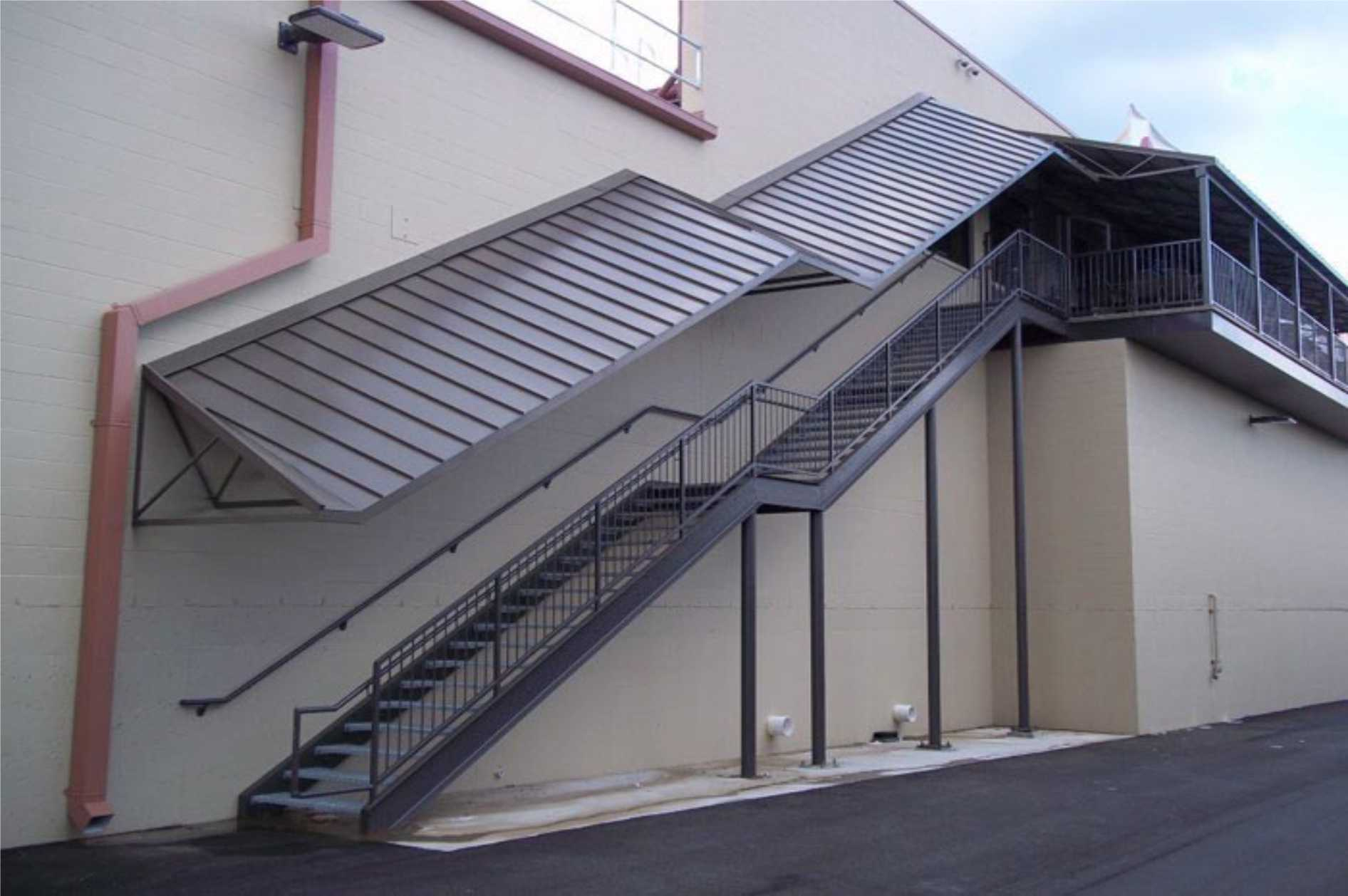 structural canopy over staircase with landing